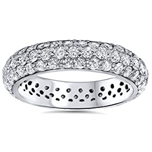 2.15CT Pave Diamond Eternity Wedding Anniversary Ring
