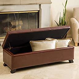 Cambridge Saddle Brown Bonded Leather Storage Ottoman