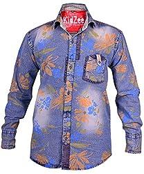 Kidzee 100% Denim Cotton Multi Colored Beautiful Floral Print Full Sleeve Shirt