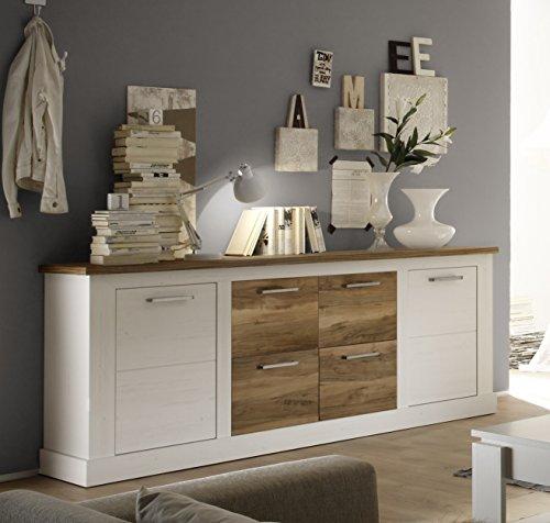trendteam tr87461 sideboard wohnzimmerschrank landhausstil weiss pinie absetzungen nussbaum. Black Bedroom Furniture Sets. Home Design Ideas