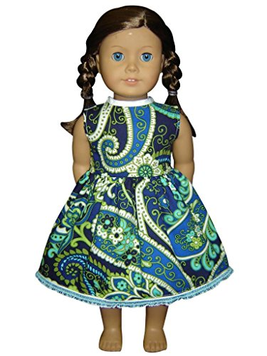 "Glamerup Collection: Gabriella - 18"" Doll Dress, Green, Royal Blue Paisley, Lace"