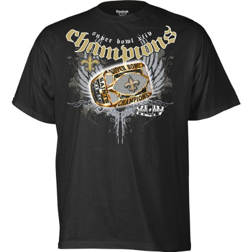 New Orleans Saints Super Bowl XLIV Champions Ring Around the Collar Men's T-Shirt, Small at Amazon.com