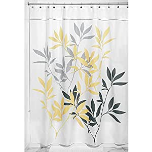 Interdesign Leaves Fabric Shower Curtain Yellow Gray 72 Inch By 84 Inch Home