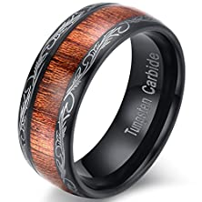 buy Mens Womens 8Mm Black Tungsten Carbide Ring Wedding Engagement Band Grain Lasered Edges Koa Wood Inlay Comfort Fit (7)