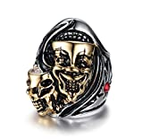 Men's Vintage Gothic Stainless Steel Skull Clown Engraved Biker Ring Band Punk Knight Jewelry Silver Gold