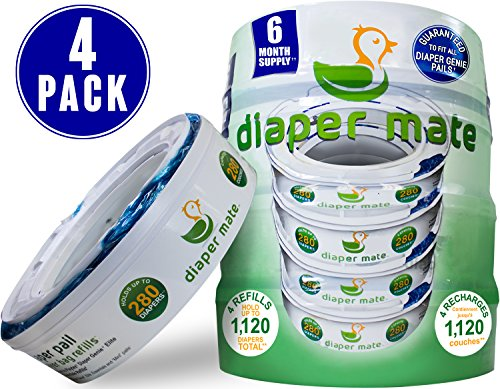 Diaper Mate Refill for Diaper Genie Diaper Pails 4 Pack – 1,120 Count – 6 Month Supply
