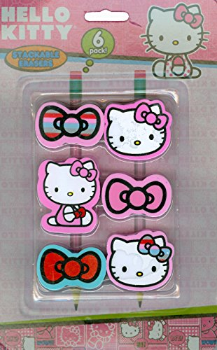 Hello Kitty 6 stackable pencil top Erasers - 1