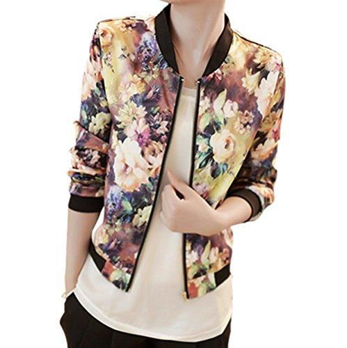 Urparcel Women Jackets Outerwear V-neck Vintage Flower Zipper Blazer Long Sleeve