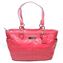 Coach 19462 Gallery Patent Leather Embossed Tote Crimson Rose Handbag