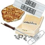 Witziges Grill-Brandeisen mit 80 Wechselbuchstaben - optional: personalisierte Holz-Geschenkebox für