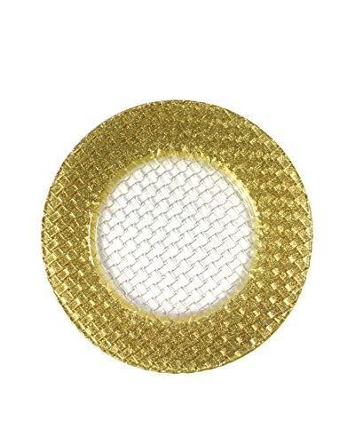 ChargeIt! by Jay Gold Glitter Braid Basket Weave Glass Charger, Gold