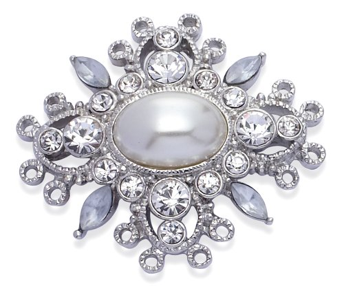 Jodie Rose Clear Crystal & 'Simulated' Pearl Brooch