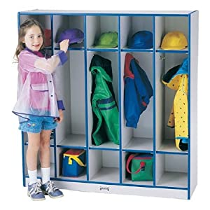 Rainbow Accents Coat Locker - 5 Sections Accents: Blue