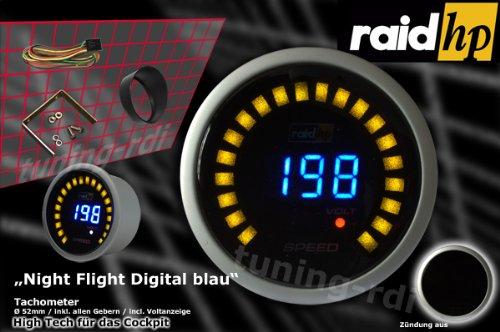 Raid HP 660509 Zusatzinstrument Tachometer Serie Night Flight Digital Blue