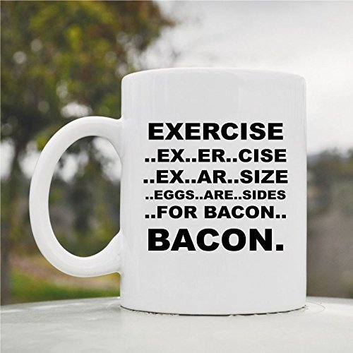 Exercise Bacon Mug Cute Funny 11Oz Ceramic Coffee Mug Cup