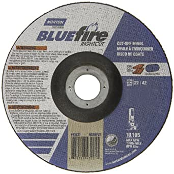 "Norton Blue Fire Plus Right Cut Right Angle Grinder Reinforced Abrasive Flat Cut-off Wheel, Type 27, Zirconia Alumina and Aluminum Oxide, 7/8"" Arbor, 6"" Diameter x 0.045"" Thickness   (Pack of 25)"