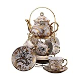 ufengke 13 Piece European Retro Titanium Ceramic Tea Set With Metal Holder, Porcelain Tea Cups Set, For Wedding, Golden Flower Painting (Color: A)