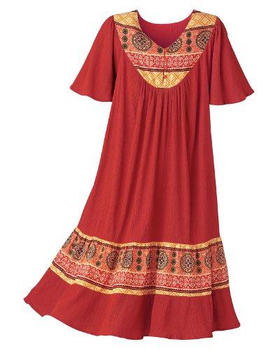 National Santa Fe Border Print Dress, Paprika, 3X