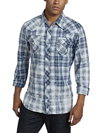 True Religion Men's Phoenix Long Sleeve Western Shirt, Ink Blue, XX-Large