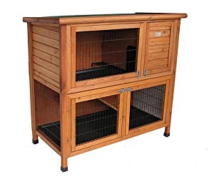 BUNNY BUSINESS Rabbit/ Guinea Pig Hutch Run with Deluxe Hutch Cover, Extra Large, 48-inch
