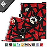 Fintie Apple iPad Air Case - 360 Degree Rotating Stand Case Cover with Auto Sleep / Wake Feature for iPad Air / iPad 5 (5th Generation) - Flower Fragment Red