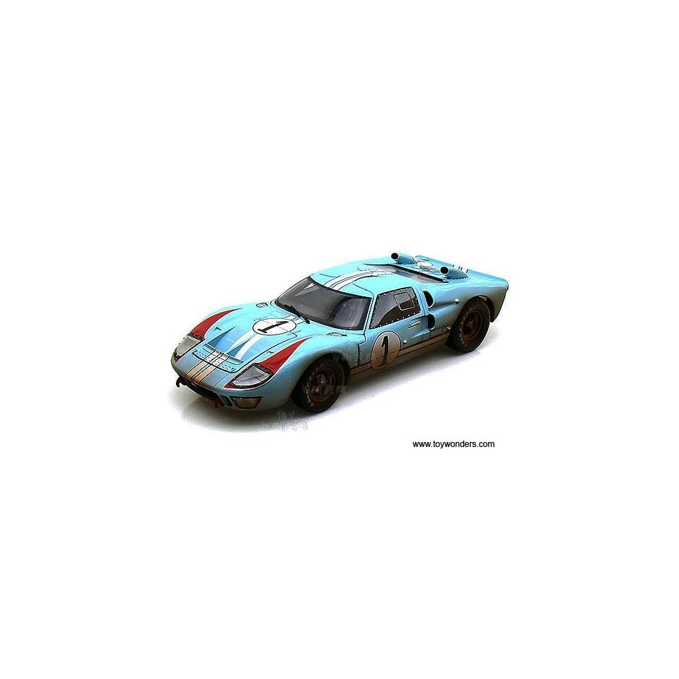 Sc405bu Shelby   Ford Gt 40 Mk Ii Hard Top #1 w/ Dirt (1966, 118, Gulf Blue w/ White Stripes) Sc405 Diecast Car Model Auto Vehicle Automobile Metal Iron Toy