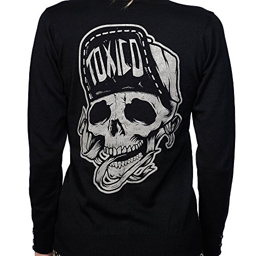 Toxico Clothing - Donna Redneck Teschio Suicidal Tattoo Cardigan Black Medium