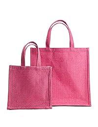 "WMM Craft Classic Jute Tote,Jute Handbag ,combo Of Medium 12""x12"" And Small 8""x8"" Mini Gift Bag,Jute Bag For Gifting..."