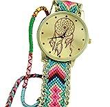 Montres pour les femmes,Hipzop Bracelet Amitié Dreamcatcher Montres Femmes Braid Montres habillées watches(Bleu + Rouge)