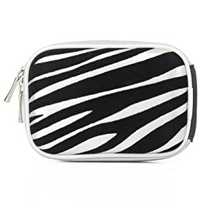 Premium Digital Camera Zipper Eva Pouch Carrying Case for Canon PowerShot Series Cameras, (Silver Zebra)