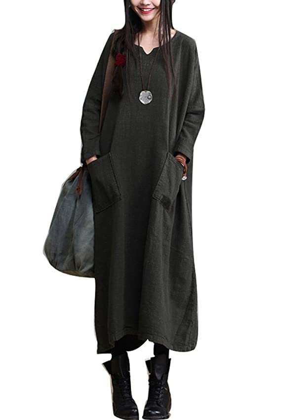 Mordenmiss Women's New Fall Plus Size Robe Linen Dress with Pockets