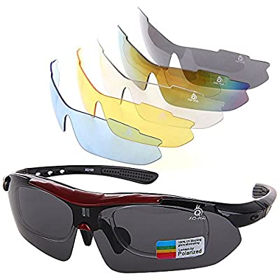 XQ-XQ Polarized UV Protection Sports Glasses Outdoor Wrap Sunglasses with 5 Interchangeable Unbreakable Lenses for Riding Driving Fishing Running Golf and Other Outdoor Activities - Black
