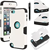 Ipod Touch 5 Case, E LV ipod Touch 5 Case - SHOCK ABSORPTION / HIGH IMPACT RESISTANT Full Body Hybrid Armor Protection Defender Case Cover for Apple ipod Touch 5 iTouch 5 with 1 Stylus and 1 Microfiber Cleaning Cloth (WHITE, BLACK)