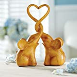 Exclusive Two Piece Loving Elephants With Heart Sculpture