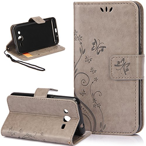 "Custodia Galaxy Core 2, Custodia Galaxy Core 2 Duos, ikasus® Galaxy Core 2 / Core 2 Duos Custodia Cover [PU Leather] [Shock-Absorption] Protettiva Portafoglio Cover Custodia Goffratura Arts Farfalla Fiore Immagine con Super Sottile TPU Interno Case e Porta carte di credito Custodia Cover per Samsung Galaxy Core 2 G355H/Core 2 Duos 4,5 "", Cover Galaxy Core 2 / Core 2 Duos, Cover Galaxy Core 2 Duos,Cover Galaxy Core 2 - Piccola Farfalla:Grigio"