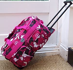 """20"""" Travel Holdall CABIN APPROVED Carry On Wheels Hot Pink flowers trolley hand Luggage Small bag"""