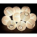 Oriental Lantern Outdoor Indoor String Lights 11 Feet Length 10 Lights, White