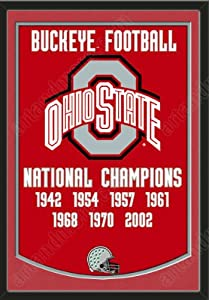 Dynasty Banner Of Ohio State Buckeyes With Team Color Double Matting-Framed Awesome... by Art and More, Davenport, IA