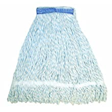 "Wilen A11412, E-Line Finish Looped End Wet Mop, Medium, 1-1/4"" Tape Band, Blue/White (Case of 12)"