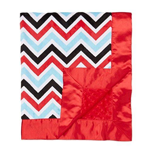 "My Blankee Chevron Minky Multi Red/Black w/ Minky Dot Red Baby Blanket, 30"" x 35"""