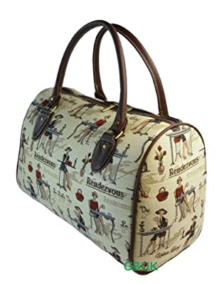 Tapestry Weekend Holdall/Hand Luggage/Travel Bag (medium) Cafe - Gobelin Style