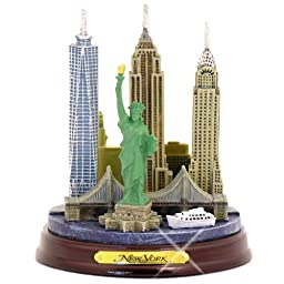 New York City Skyline Architecture Model Statue, Wooden Base, 4.5\