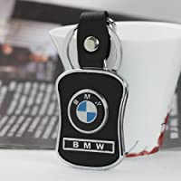 Leather Metal Bmw Car Keychain Key Ring With Gift Box