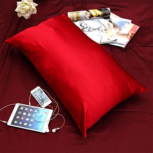 "Satin Pillow Cases Queen/Full Size 18.50""*28.74"" Multi Color For Choice (Red) front-506386"