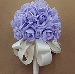 33pcs Artificial Holding Roses Wedding Bouquet High Gorgeous Charm Emulation Bridal Bride Bouquet Flowers with Green White Ribbon