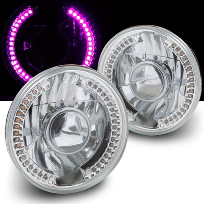 """Universal 7"""" Round Smdx36 Drl Purple Led Projector Headlights With H4 Bulbs"""