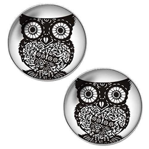 Black Deco Owl Unisex Mens Womens Stainless Steel Stud Earrings (Stainless Steel Owl Ring compare prices)