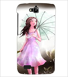 PrintDhaba Umbrella Girl D-3300 Back Case Cover for HUAWEI HONOR HOLLY (Multi-Coloured)