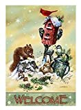 "Welcome Winter House Flag Squirrel Bunny Birds Watering Can Wildlife 28"" x 40"""