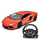 Gift for Children Original Licensed Kids Ride Remote Control Cars R/C 1:14 Lamborghini Aventador With Steering Wheel - Orange